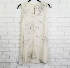 Kelly Wearstler Sleeveless Silk Knife Print Shift Dress L White