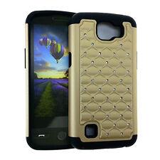 For LG Optimus Zone 3 / K4 Hard&Soft Rubber Hybrid Diamond Bling Case Cover GOLD