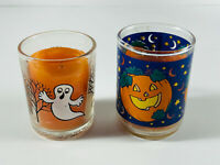 Pair (2) Vintage Halloween Candles Votives Ghost Haunted House Jack-o-lantern