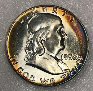 1958-D Silver Franklin Half Dollar 50c ~ Rainbow Toned Choice Uncirculated