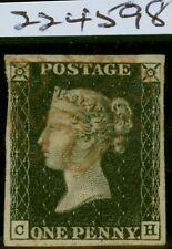 GB 1840 1d Penny Black SG2 (C-H) Pl 7 Fine Used 4 Margins Neat Red MX Royal Cert