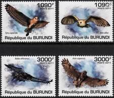 OWLS (African Grass/Barn/Spotted Eagle-Owl/Marsh) Bird Stamp Set (2011 Burundi)