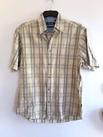Lovely Beige & Blue Check Short Sleeve 100% Cotton Shirt from Maine - Size S