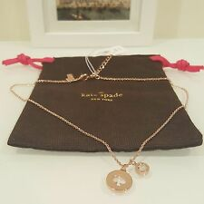 NWT KATE SPADE SPOT THE SPADE CHARM NECKLACE ROSE GOLD CLEAR W DUST BAG $58