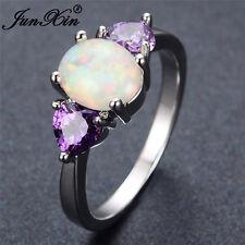 Heart Purple Amethyst Oval Cut White Fire Opal 925 Silver Wedding Ring Size 6-10