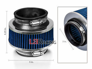 """3"""" Inch 76mm Universal Cold Air Intake ByPass Valve BLUE Filter For Infiniti"""