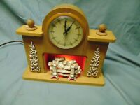 Vintage United Clock fireplace design Clock lights up red color fireplace 10 x 9