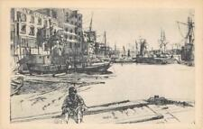 """""""Eagle Wharf"""" James Whistler Etching Freer Gallery of Art, D.C. c1920s Postcard"""