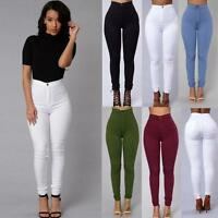 Women Lady Skinny Pencil Pants High Waist Stretch Slim Fit Jegging Long Trousers
