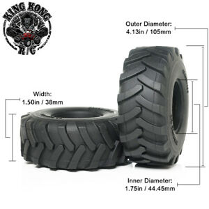 "105mm 1.75"" Tires (2pcs) for Tamiya 1/14 R/C Tractor Trailer/Truck 1.75"" Wheel"