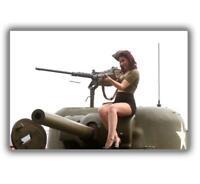 """War Retro Vintage tank m4 sherman Gir ww2 woman sexy Photo Glossy """"4 x 6"""" inch D"""