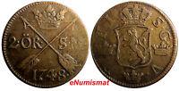 Sweden Frederick I 1748 2 Ore, S.M.Avesta Mint. Low Mintage-461,000 KM# 437#6821