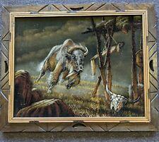 """New ListingVintage Velvet Buffalo Bison Painting Wood Framed 23.5"""" by 19.5"""" Wall Art Mexico"""