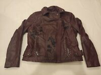 Guess Wilson's Leather Reddish Brown Faux Leather Moto Jacket SZ L Large