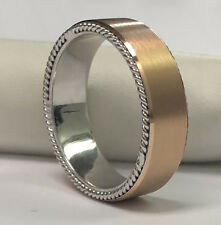 8mm 14K Two Tone Gold Handmade Design Comfort Fit Thick Wedding Band Size 14