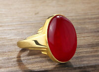 Natural Red Agate Mens Vintage Gemstone Ring in Real Solid Fine 14K YELLOW GOLD