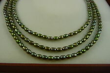 Ola Gorie 9ct Yellow Gold Olive Green Plearl Necklace Choker Chain Delux Box