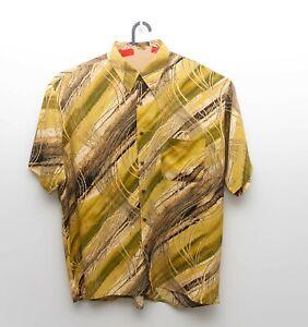 Callan Mens Gold Floral Short Sleeve Button Front Shirt - sz 3XL