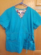 Koi Scrub Top Xl Turquoise Blue Mock Wrap Euc! Medical Dental Vet Tech 😷 👌!