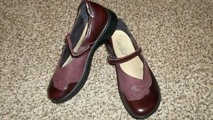 NAOT Maroon Floral Leather Mary Jane Shoes Loafers Women 40/9 M