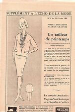 "636 ANCIEN PATRON/""/"" ECHO DE LA MODE/"" ROBE CHEMISIER  T 42//44//46 ANNEE 1961"