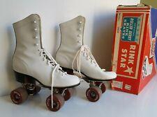 Roller Derby Rink Skates 4 Wheel Urethane Wheels 1980 Vintage Size 6 White Box