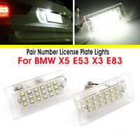 Pair 18 LED Number License Plate Light Lamp Bulb For BMW X5 E53 1999-2006 X3 E83