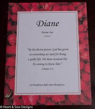 Red Roses Name Meaning Print Certificate  (Gift for Birth, Shower, Baptism)