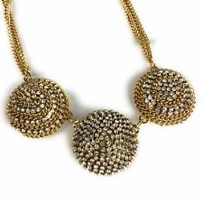 nOIr Gold Tone Crystal Dome Shaped Statement Medallion Bib Multi Chain Necklace