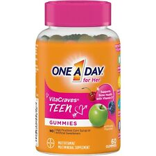 One A Day TEEN FOR HER VitaCraves 60 GUMMIES MULTIVITAMIN / MINERAL SUPPLEMENT