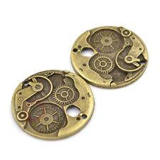 Antique Bronze 38mm Round Wheel Gear Cog Charms Steampunk DIY Accessories 2 Pcs