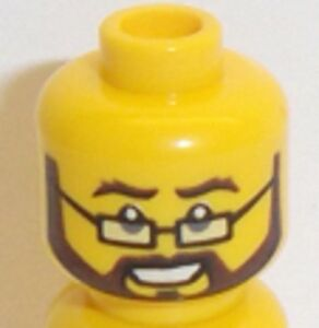 Lego Minifigure Yellow Head x 1 Rectangular Glasses & Brown Beard