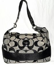 Coach 17434 Signature Stripe Gray & Black Jacquard with Patent Leather Hobo Bag