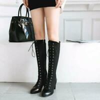 Womens Lace up Knee High Boots Chunky Heel Boots Fashion Punk Casual Shoes 3-16