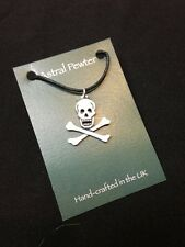 PENDANT ASTRAL PEWTER PIRATE SKULL AND BONES NECKLACE HAND CRAFTED UK FINISH NEW