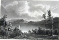 New York Finger LAKE GEORGE Sailboat Summer Homes Island ~ 1846 Print Engraving
