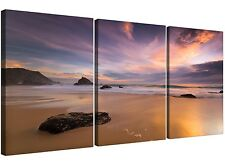 Cheap Beach Sunset Canvas Art Three Part for your Bedroom