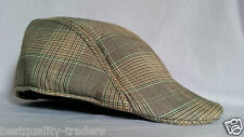 Men Ladies Unisex flat cap peak cap with elasticated Brim Free First Class P&P