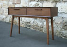 Walnut Mid Century Modern Style Hall Table Console Stand 1960s drawers