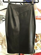 ALESSANDRO DELL'ACQUA Black Shiny Straight Pencil Skirt Sz 40 or US 2/4  $400