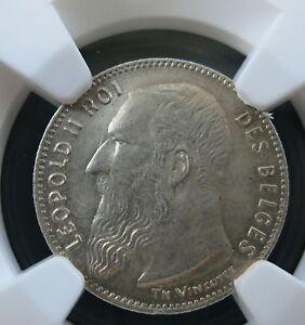 BELGIUM 50 centimes 1909 NGC MS 64 BU UNC