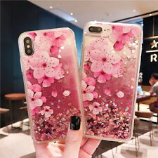 Bling Flower Heart Quicksand Clear Soft Rubber Case Cover For iPhone X 8 7 Plus