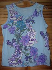 *NEW* NWT Floral Glitter Cotton Blend Sleeveless TOP with V Neck Small Medium