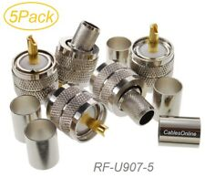 5-Pack, UHF PL-259 Male Crimp Type RF Connectors for RG8/RG213/LMR400 Coax Wire