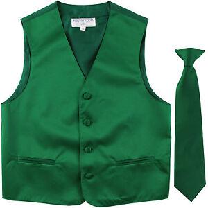 New Kids Boys Formal Tuxedo Vest Necktie Emerald Green US Sizes 2-14 Wedding
