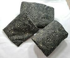 3 pc Twin Sheet Set Flat Fitted Pillow Case JC Penney Black Tan Damask? Made USA