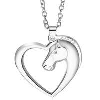Jewelry Plated Weiß K Pferd In Herz Halskette Anhänger Halskette ZPZD
