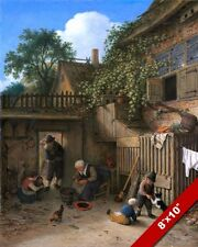 MIDIEVAL PEASANTS IN THE COTTAGE COURTYARD PAINTING ART REAL CANVAS GICLEE PRINT