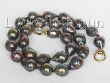 "natural baroque 18"" 16mm peacock black Reborn keshi pearls necklace j10563"