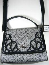 Guess G Logo MORENO Satchel Shoulder Bag Black Gray Women's NWT